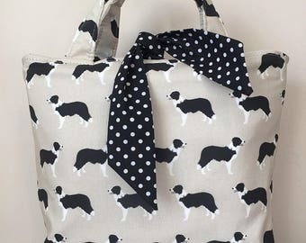 Border Collie dog print handbag