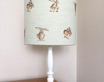 Wrendale hare print fabric (mint green) lamp