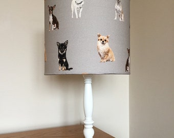 Chihuahua dog print fabric lamp