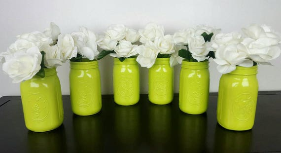 Wedding Table Centerpieces Lot Lime Green Decor Mason Jar Decorations Bride Glass Center Pieces 6 Jars Mid Century Floral Arrangements Farm