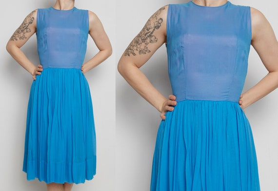 1960s Blue Silk Chiffon Sleeveless Dress XS