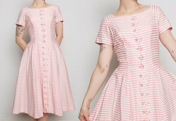 Pink Striped 1950s Jonathan Logan Dress