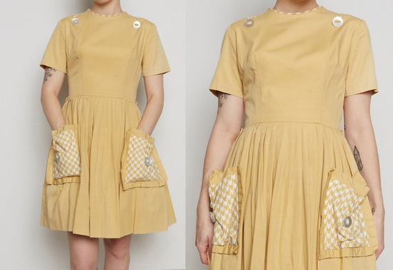 1950s Unique Yellow Houndstooth Patch Pocket Dress