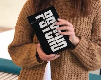 Book clutch purse - Custom embroidered handbag - Literary gift - PSYCHO - Black velvet version