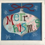 Vintage Hand Painted Window - Merry Christmas - Christmas Decor - Vintage Christmas - Painted Window - Christmas Paint - Holiday Decorations
