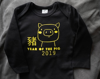 e9f000ea1539 Organic Chinese Zodiac Year of the Pig Baby Clothes Baby Bodysuit