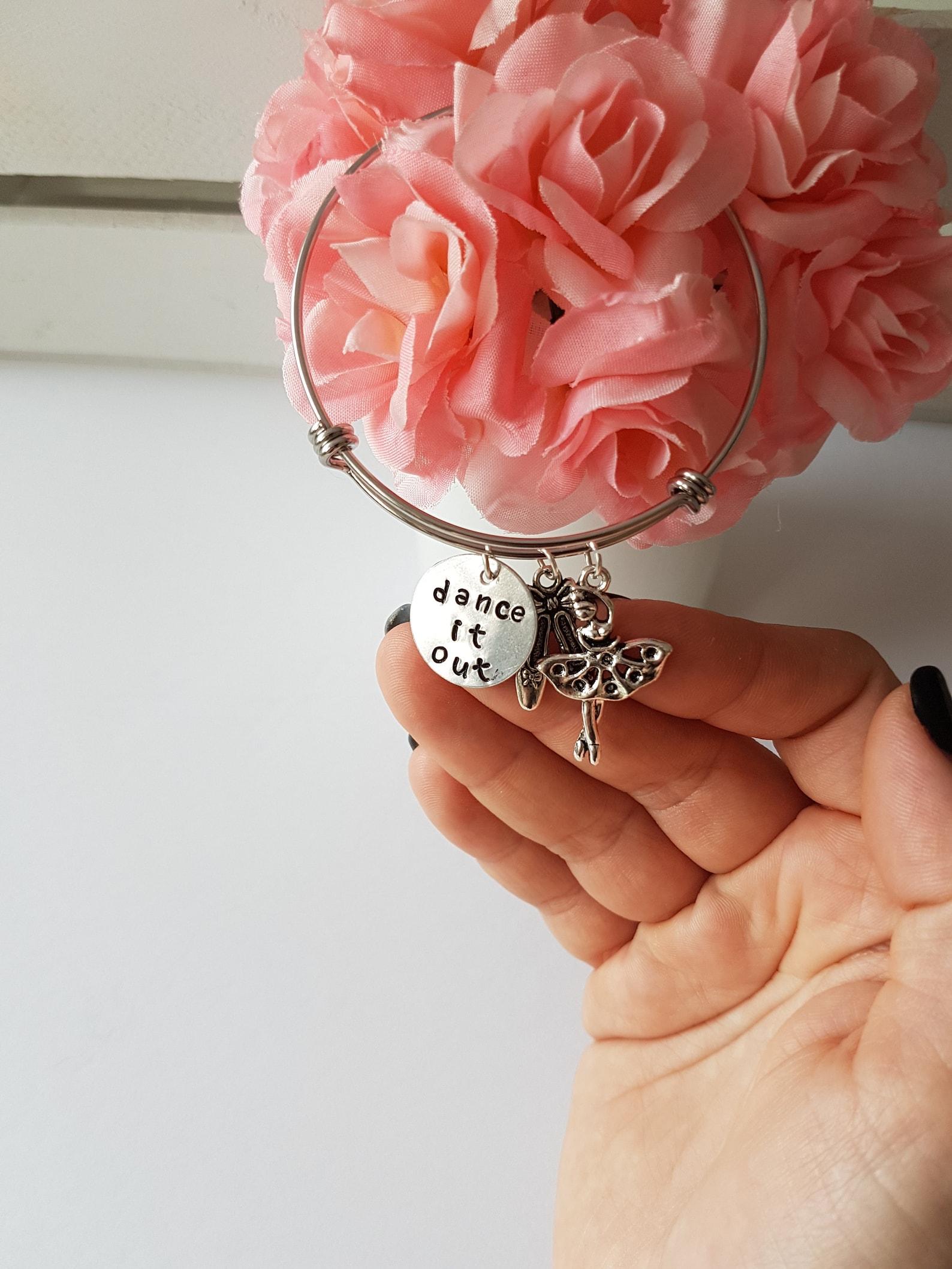 charm bracelet, adjustable bangle bracelet with ballerina, ballet shoes charm bracelet, dance it out stamped bracelet, friends b