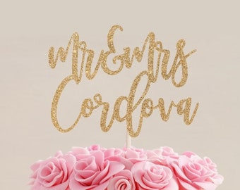 Rose Gold Personalized Wedding Cake Topper Etsy
