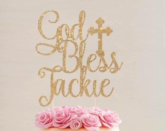 Custom Personalized Baptism Cake Topper  |  God Bless Cake Topper  |  Custom God Bless Cake Topper  |  Christening Cake Topper