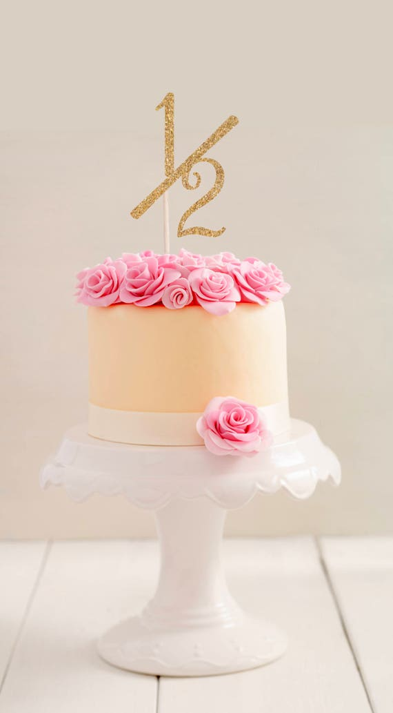 1 2 Birthday Cake Topper Half