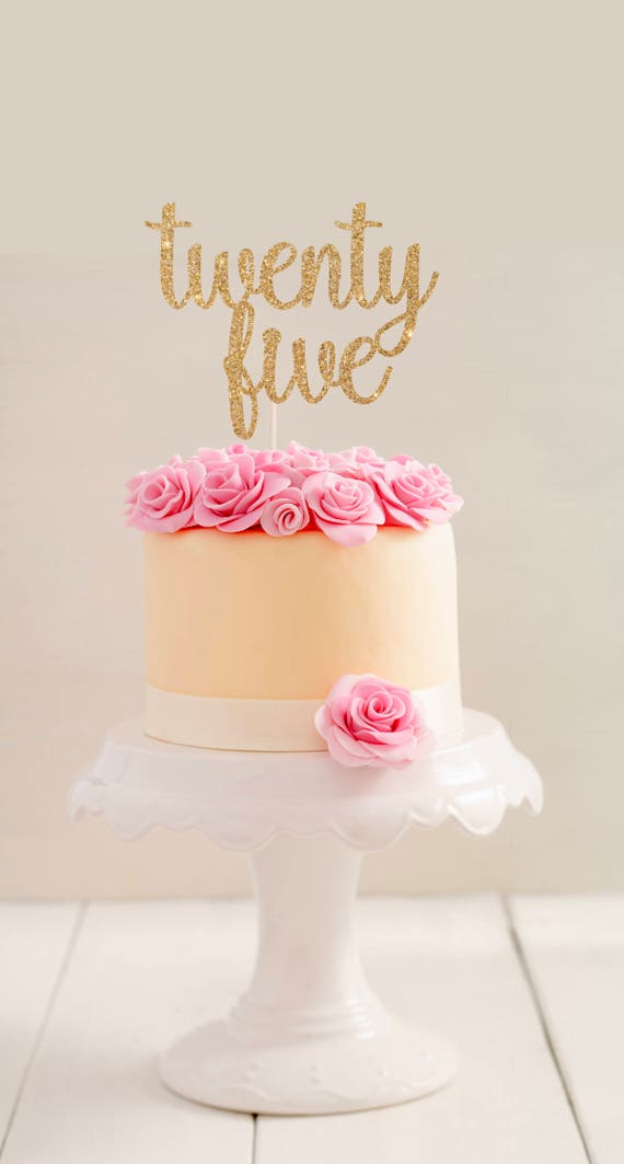 Admirable Gold Glitter Twenty Five Cake Topper L 25Th Birthday Cake Etsy Funny Birthday Cards Online Alyptdamsfinfo