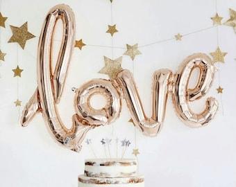 "30"" amour ballons    Bridal Shower ballons    Or rose amour ballons    Partie de Bachelorette    Ballons de mariage    Ballon de Script amour"