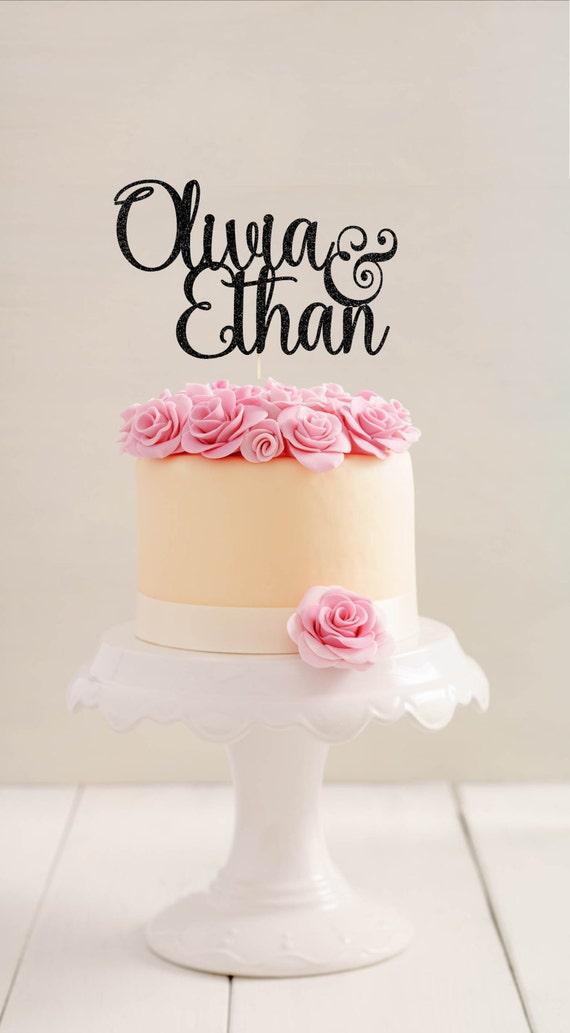 Wedding Engagement Cake Decoration Mr /& Mrs Black Glitter Card Cake Topper