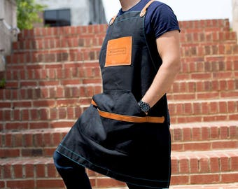 Personalized Men's Apron - Cool Valentine's Day for Husband / Boyfriend / Brother / Dad, Canvas and Leather Apron with Custom Engraving