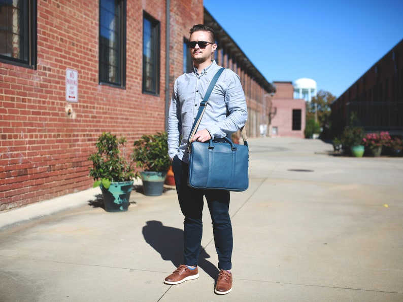 Man/'s Leather Business Bag  Blue Leather Briefcase  Italian Blue Leather Laptop Bag  Genuine Leather Computer Bag for Man