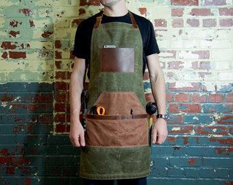 Leather and Canvas Apron, Barber Apron, Waxed Canvas Apron, Work Apron