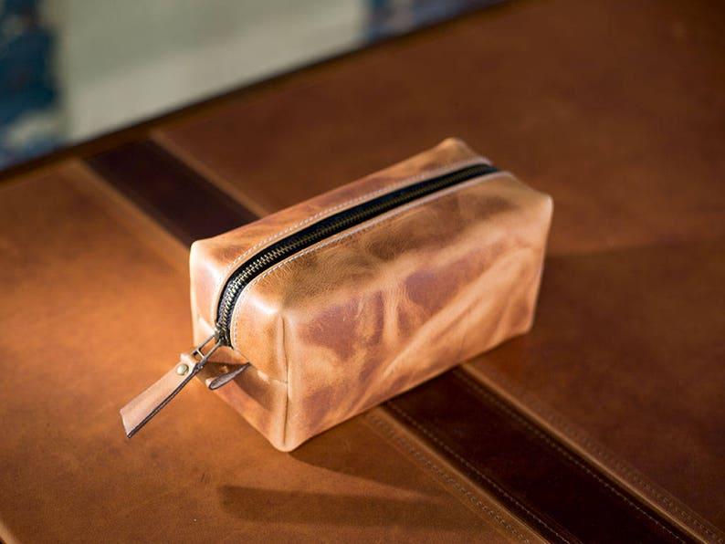 edc1b6d20d Leather Dopp Kit Men s Natural Leather Travel Kit