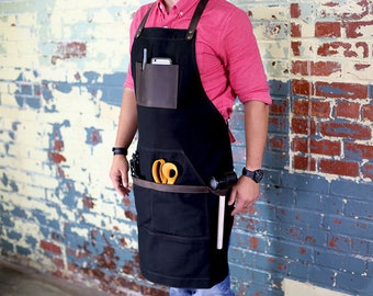 Black Canvas Apron, Leather and Non Waxed Canvas Apron, Custom Men's Apron with Custom Engraving