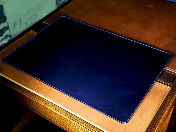 Tischmatte in Horween blau Tinte Chromexcel Leder, Schützentisch Pad 13