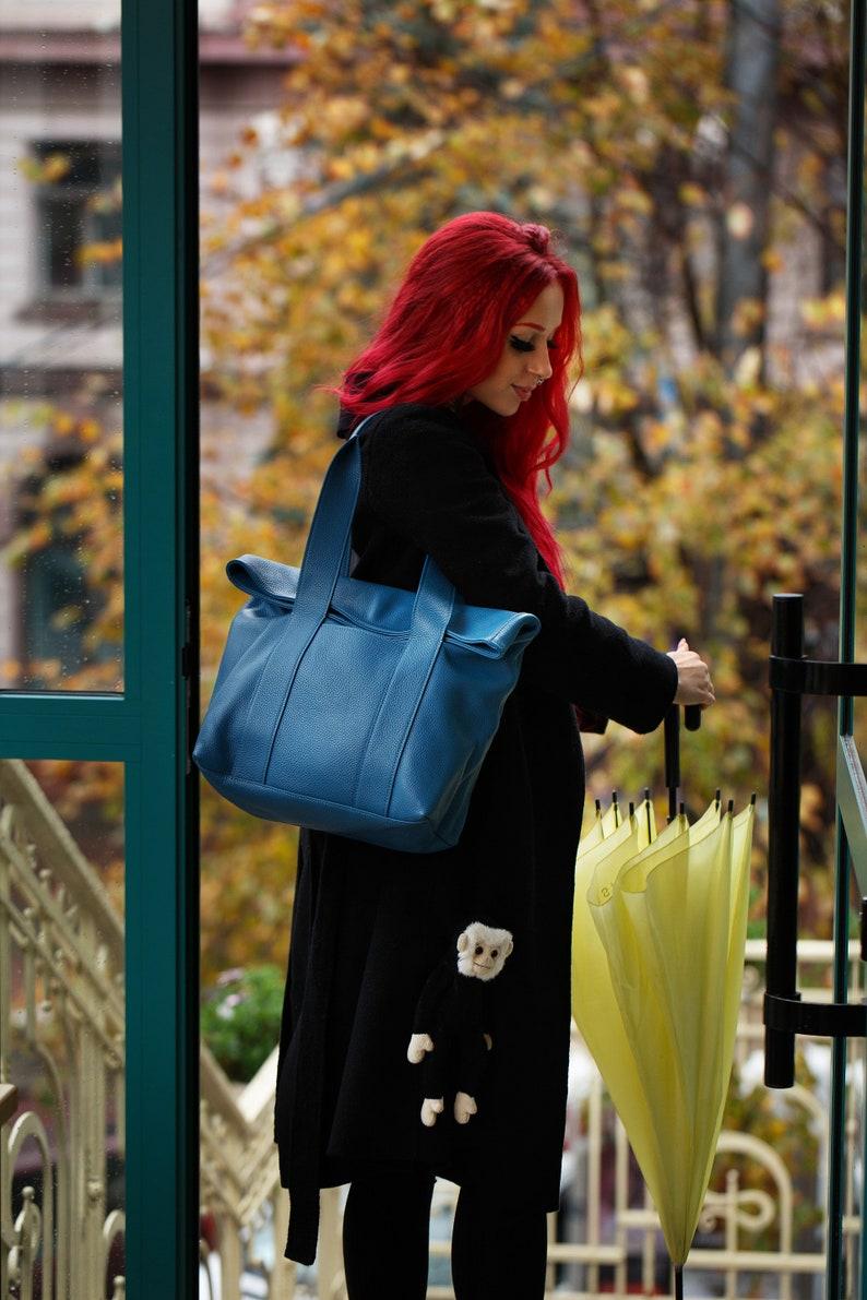 Soft Blue Leather Tote Bag  Shoulder Tote Bag  Tote Bag with Zipper  Blue Leather Handbag  Laptop Leather Bag  Fashion Leather Tote Bag