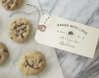 Baking Gift Tag - Custom Stamp - Cooking - Rubber Stamp - Homemade - Handmade - Recipe - Personalized - Gift Basket - DIY - Bake Sale