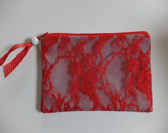 Denim pouch - Denim and lace pouch - Red pouch - Red denim and lace pouch - Red make up pouch
