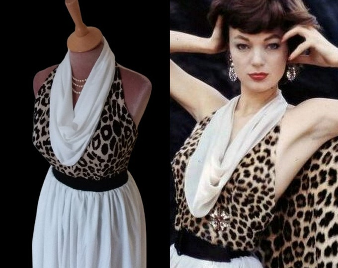 Ready now...Nina leen leopard print halter top and skirt (Small)
