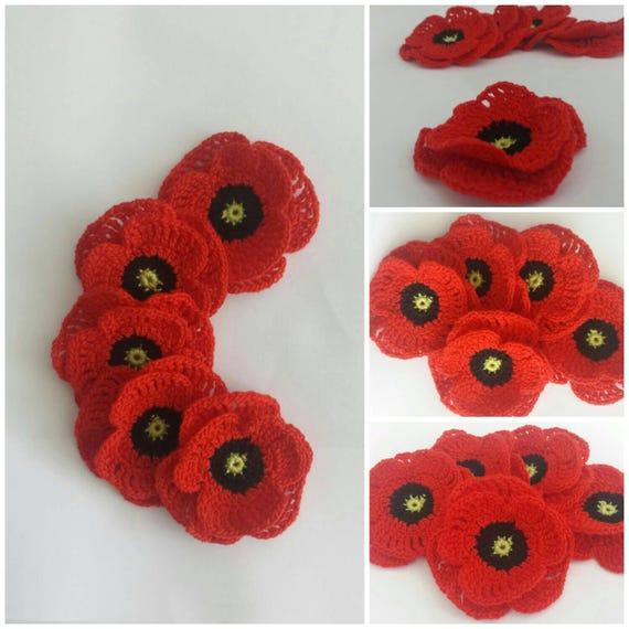 Crochet Poppy Appliquescrapbooking Setremembrance Day Etsy