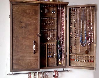 Jewelry Cabinet. Large Earrings Closet With Shelf. Dark WALNUT Jewelry  Storage.Wooden Wall Mounted Earring Organizer. Earrings Storage.