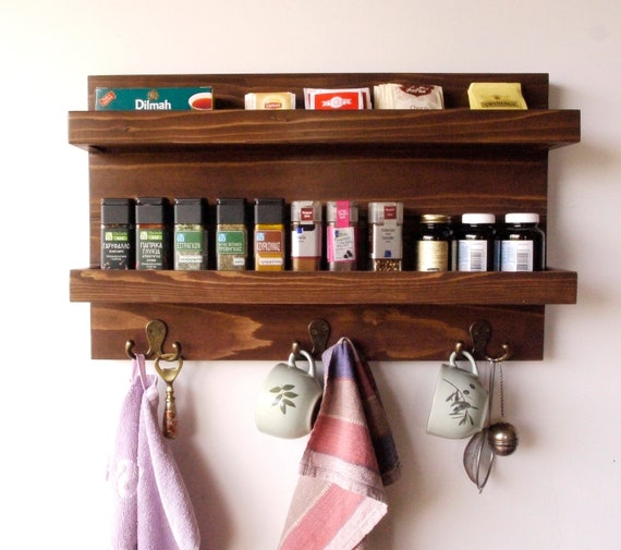Kitchen storage/Rustic kitchen shelves/wooden wall rack/ wall mounted spice  rack/Kitchen organization/spice storage/ shelving/spice storage