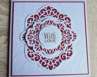 With love card. Romantic card. Die cut card. Hand stamped and heat embossed card. Monochromatic card. Red and white love card.