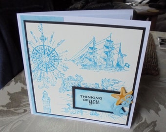 Male thinking of you card. Thinking of you card for a man. Nautical card. Ship and anchor card.