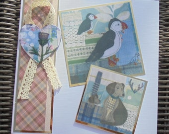 Images from Scotland card. Thistle card. Flower of Scotland. Puffin card. Hound card. Tweed on paper. Tartan and tweed. Made in Scotland.