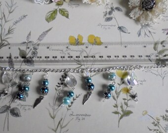 Peppermint coloured glass pearl and Czech crystal charm bracelet. Friendship bracelet. Beaded bracelet. Statement jewellery.