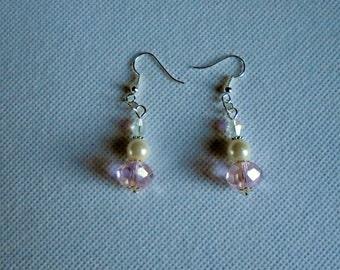 Dangling pink crystal earrings. Bling earrings. Glass pearl and Czech crystal dangling earrings for pierced ears.