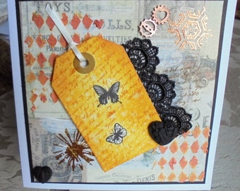 Vintage theme card. Friend card. Mixed media card. Assemblage card.