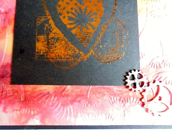 Steampunk themed card. Crimson, orange and gold card. Foiled card. Any occasion card. Special card for a special person.