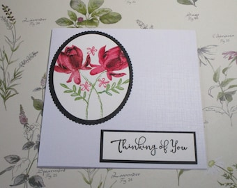 Red floral Thinking Of You card. Floral sympathy card.