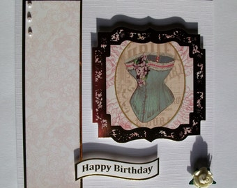 Hand embellished birthday card. Woman's birthday card. Blank woman's birthday card, Vintage themed birthday card. Card for her.