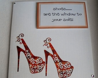 Red Shoes card. High heels card. Humorous card. Best friend card. Birthday card. Funny card.
