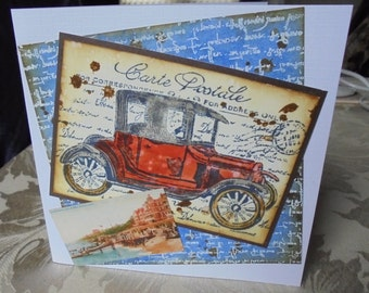 Old car card. Vintage automobile card. Antique motor car card. Driver's card. Distressed style card.