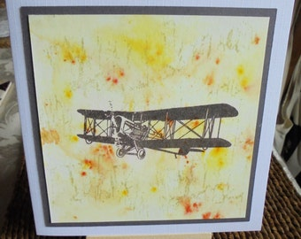 Aviation themed card. Plane card. Aviation card. Vintage plane card. Masculine card.