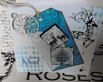 Scandinavian style Christmas card. Reindeer tag. Joyeux Noel card.