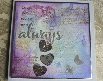 Love you today and always card. Shabby chic love card. Romance card. Card for a loved one.
