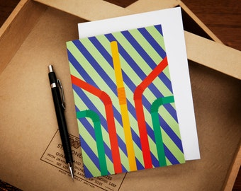 3 Straws Stripy Greeting Card