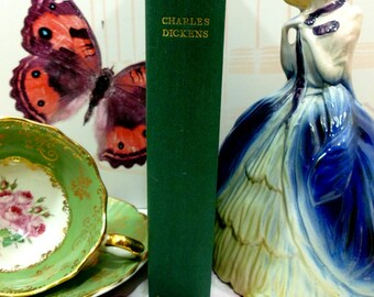 Our Mutual Friend Vintage Charles Dickens Book 1950s Facsimile of First Edition Green Hardback Gilt Titles