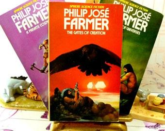 Philip Jose Farmer Vintage Sci Fi Paperback Books 1970s World of the Tiers Sphere Cult Fantasy