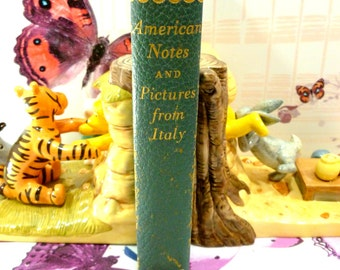 American Notes and Pictures from Italy by Charles Dickens Classic Faded Blue Leather Vintage Hardback Book