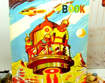 Vintage Magic Paint Magical Painting Coloring Book early 1950s with Spaceship Rockets Martians Unused