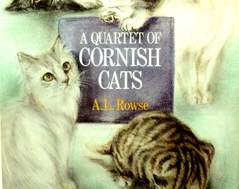 Vintage Book A Quartet of Cornish Cats Four Lovely Real life Cat Stories Perfect gift for Cat Lady 1980s Hardback with DW
